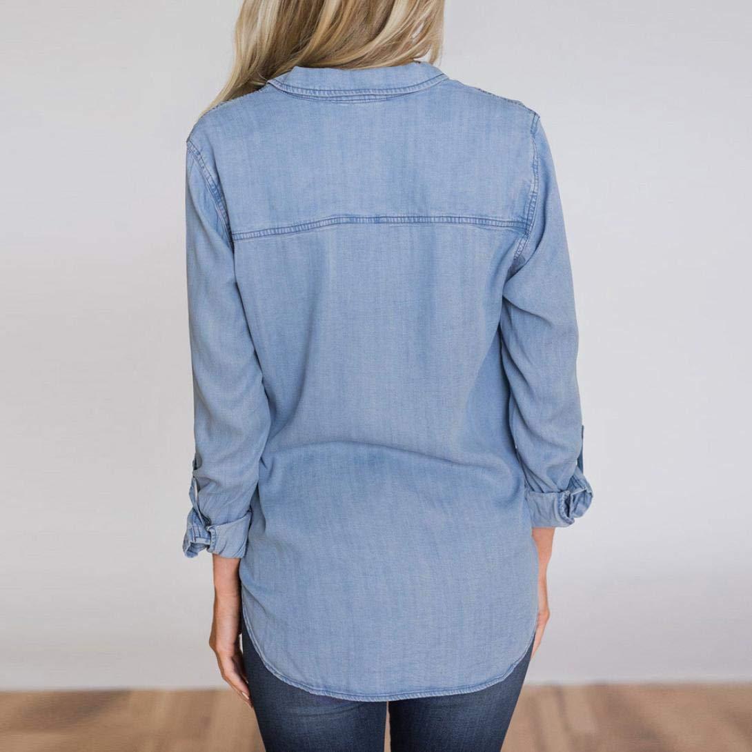 e1961e19 AIEason Women top Women Casual Soft Denim Shirt Tops Blue Jean Button Long  Sleeve Blouse Jacket