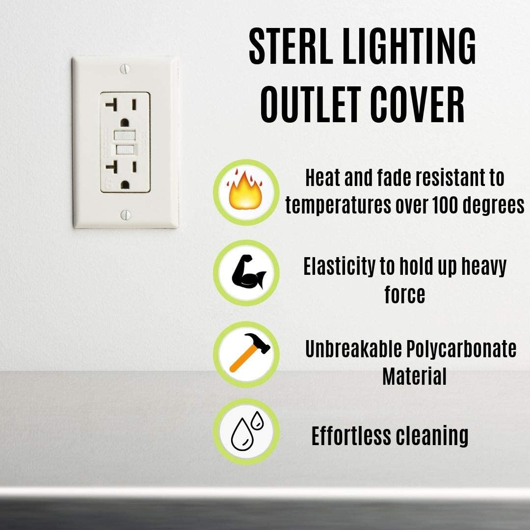 GFCIs Receptacle Wallplate Unbreakable Polycarbonate Material 1 Gang White Wall Plates UL Listed Standard Size Pack of 10-Sterl Lighting Decorative Outlet Covers