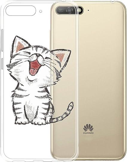 DYSu Custodia per Huawei Y6 2018, gatto di estro Trasparente TPUSilicone Morbido Coperchio Protettivo Custodia Bumper Flessibile Skin Case Cover Cassa ...