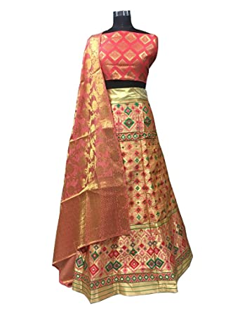 51ef08b4820bb Multicolor Semi Stitched Brocade Designer Lehenga Wedding Lehenga Choli  With Pure Banarasi Dupatta: Amazon.in: Clothing & Accessories