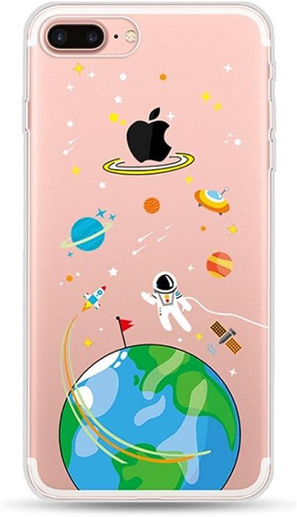 Freessom Coque Iphone 7 8 Silicone Transparente Motif Univers Space Couleur Simple Chic Apple Dessin Drole Kawaii Fine Design Original Fantaisie Anti