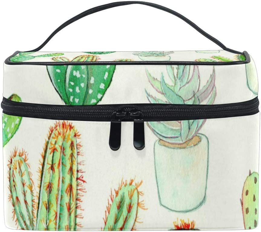 Malpleda - Neceser y estuche para cosméticos, diseño de cactus acuarela: Amazon.es: Belleza