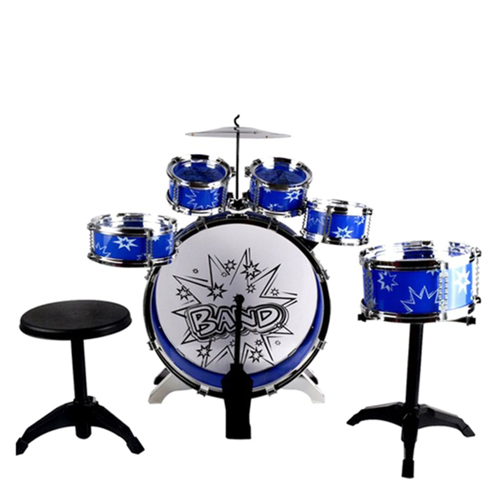 Binglinghua Kids Drums Kit, Musical Instrument Toy with Cymbals Stool Drum Kit For Kids Christmas Birthday Gift