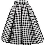 Dresstore Vintage Pleated Skirt Floral A-line Printed Midi Skirts Pockets