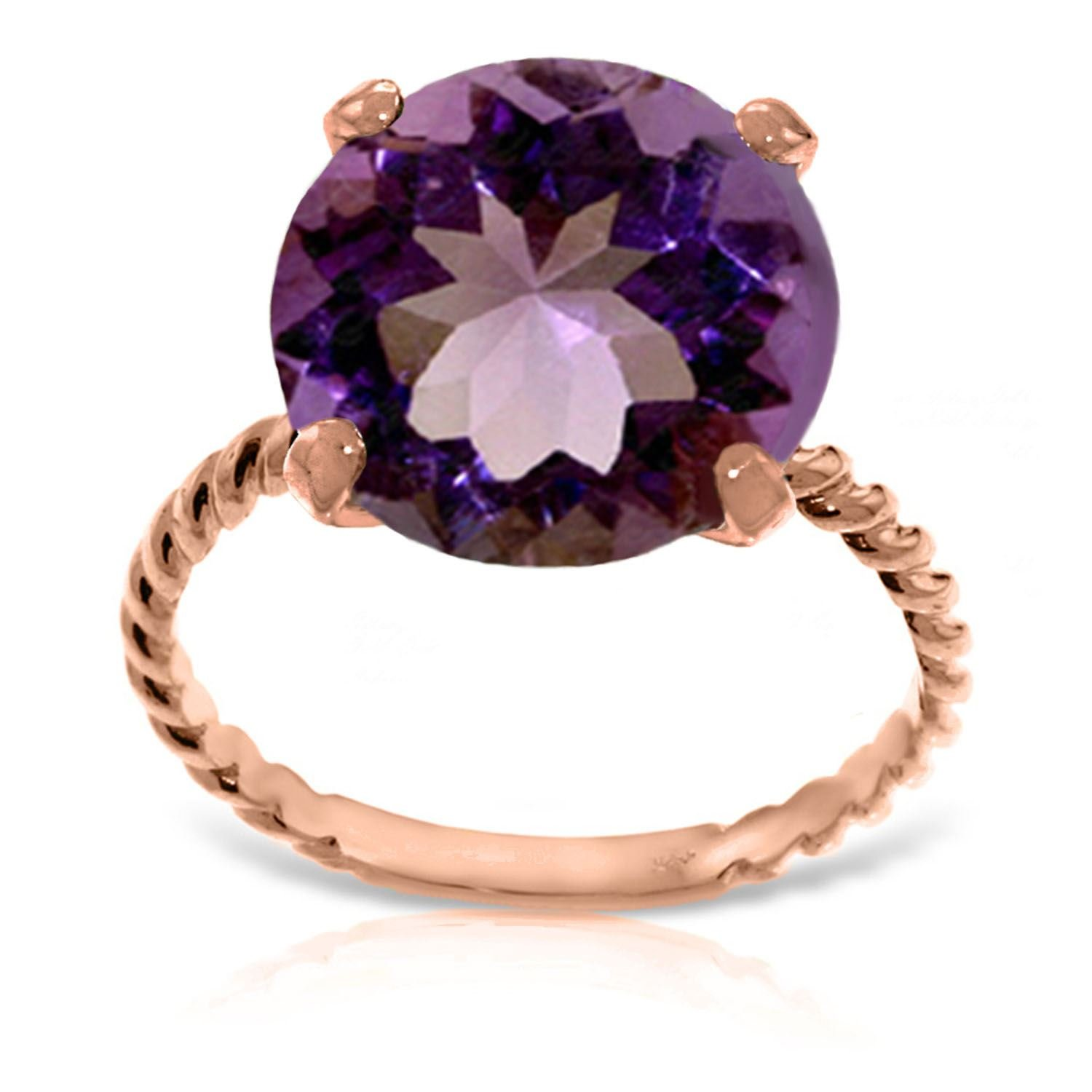 ALARRI 14K Solid Rose Gold Ring w/ Natural 12.0 mm Round Amethyst With Ring Size 10