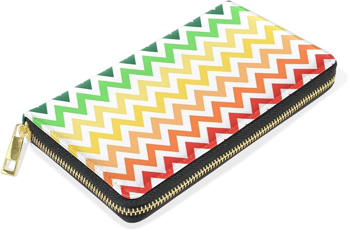 LAVOVO Rainbow Zigzag Chevron Womens Clutch Purses Organizer And Handbags Zip Around Wallet