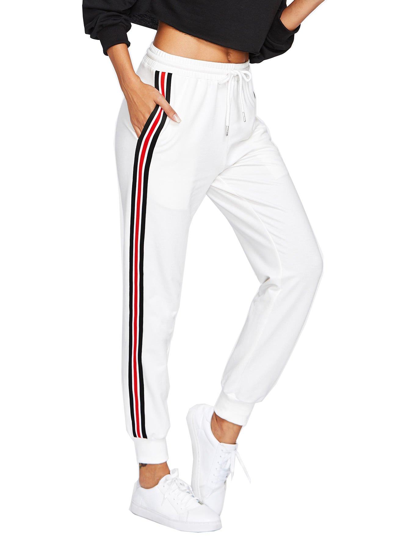 SweatyRocks Women's Drawstring Waist Striped Side Jogger Sweatpants with Pockets (Medium, White)
