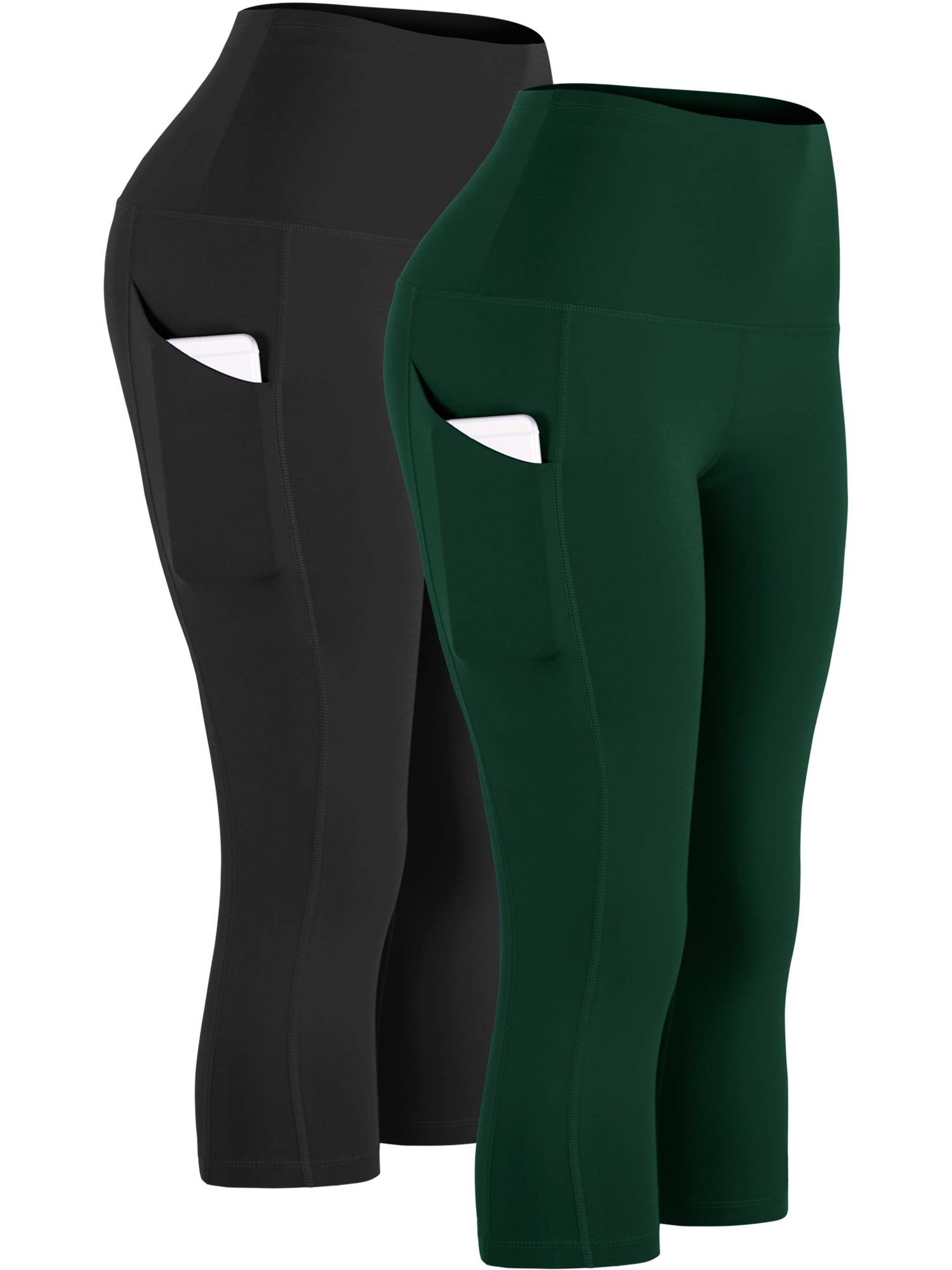 Cadmus Womens High Waist Workout Legging Capris for Yoga w Side Pockets,1109,Black & Dark Green,Medium by Cadmus