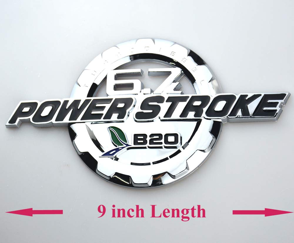 Chrome 3D Turbo Diesel Door Emblems Badge NamePlate Decals Sticker Replacement for Ford 2pcs 6.7L Power Stroke Emblems