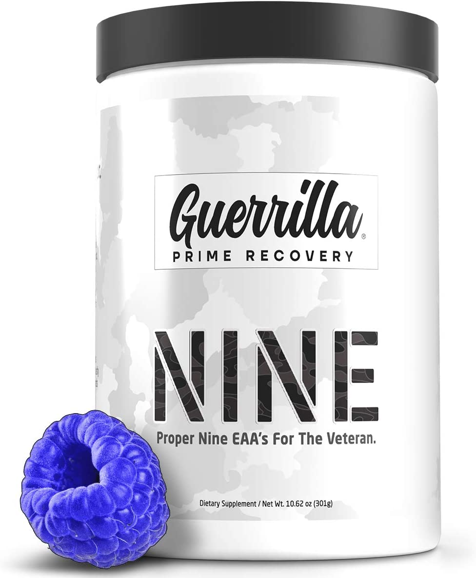 Guerrilla Nine - BCAA Amino Acids - Post Workout Recovery Drink for Men and Women - 30 Servings of Blue Razz Flavor - Muscle Recovery Through Amino9 an Essential Amino Acids EAA Powder