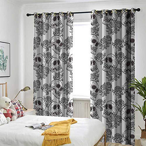 AndyTours Skull Decorations Doorway Curtain Blooms Retro Otherworld Textured Western Celtic Halloween Horror Image Embossed Thermal Weaved Blackout 84