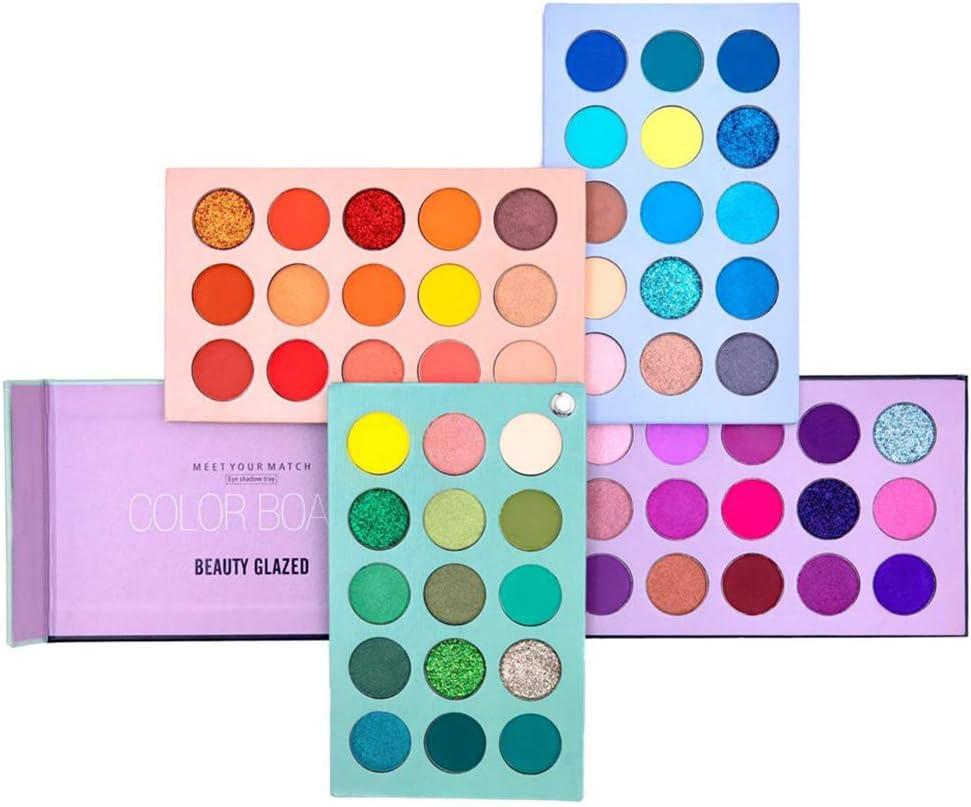 Paleta de sombras de ojos de 60 colores Set de paleta de maquillaje 4 in1 Color Board Altamente pigmentado Brillo Metálico Mate Brillo Natural Ultra Sombra de ojos en polvo
