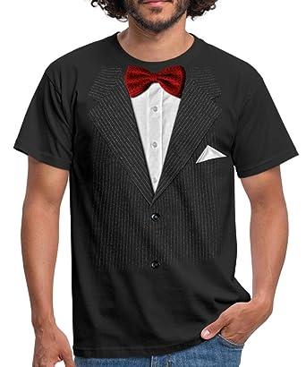 3d185c99c5 Spreadshirt Pinstriped Suit With Bowtie Costume Humour Men's T-Shirt, S,  black