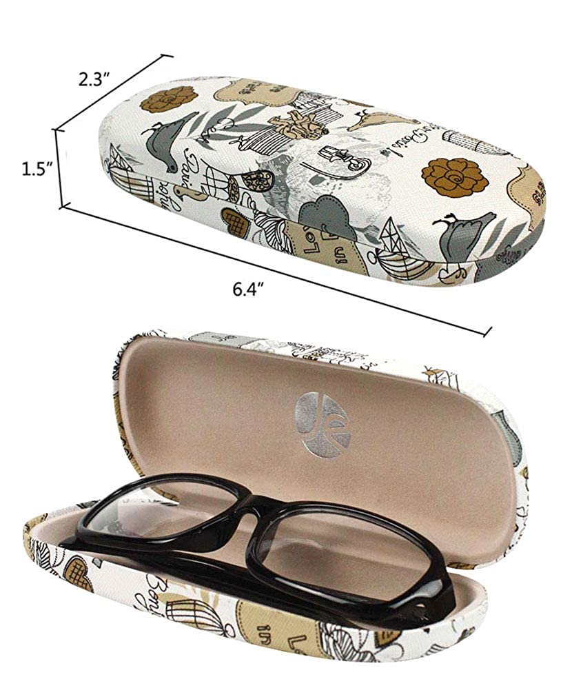 4 PACK JAVOedge Bundle Paris Theme Printed Pattern Hard Clamshell Eyeglass Storage Case w//Bonus Microfiber Cloth EYEW-00347-4PACKS