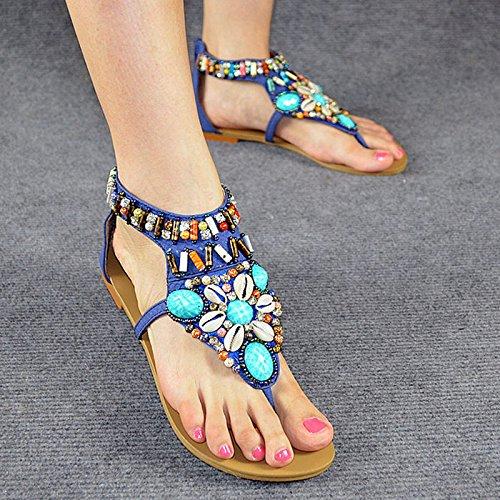 La parte inferior plana sandalias femeninas zapatos de las sandalias Bohemia del verano mujeres del diamante plana con la parte inferior plana Blue