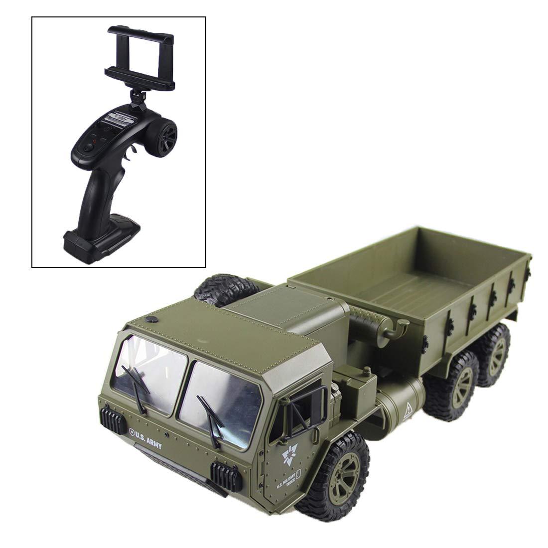 Type-2  Rolanli RC Voiture de Jouet, 2,4G 6WD 0,3MP Camions Militaires Modèle de Camion RC Simulation pour Enfants - Version WiFi