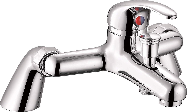 VeeBath Egham Modern Round Monobloc Single Lever Bath Shower Mixer Tap Bathroom Tub Filler Brass Faucet with Shower Head - Chrome