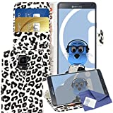 iTALKonline Samsung Galaxy Note 4 SM-N910M White Black Leopard PU Leather Executive Multi-Function Wallet Case Cover Organiser Flip with Credit / Business Card Money Holder Integrated Horizontal Viewing Stand and 3 Layer LCD Screen Protector