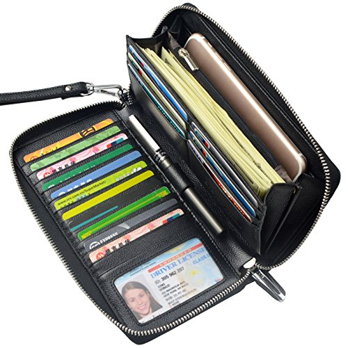 Zip Around Long Wallet (Black) - 2
