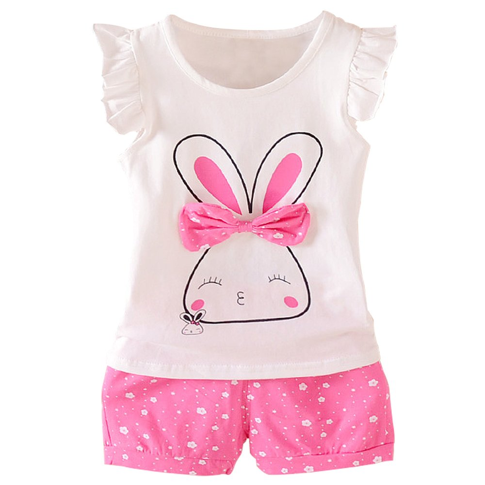 Baby Girl Clothes Summer Outfits Short Sets 2 Pieces with T-Shirt + Short Pants (T-red, 12-18 Months)
