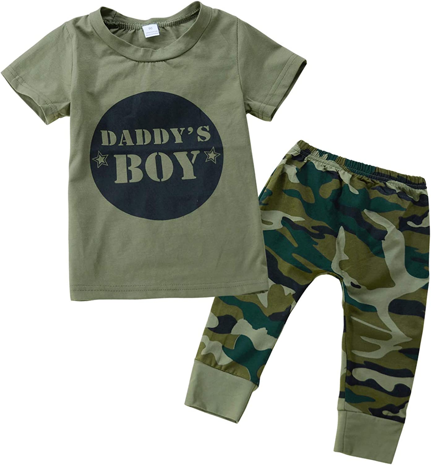 MetCuento Newborn Baby Boys Girls Clothes Letter Print Romper+Camouflage Pants+Hat Outfits Set