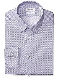 Men's Non Iron Stretch Slim Fit Square Print Dress Shirt