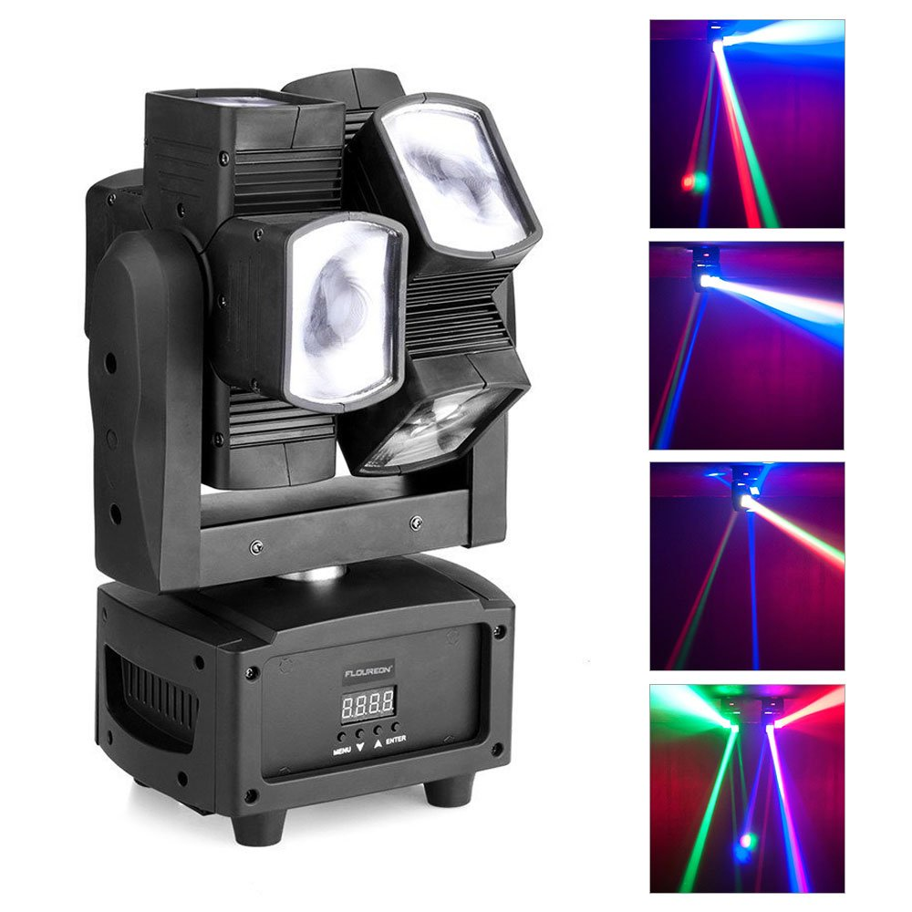 JUDYelc Professional Moving Head Light Mini Spider Stage Lamp 8x3W with RGBW 4 Color LED Light Disco Lights DMX512 Portable by JUDYelc
