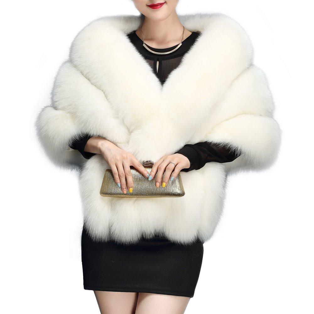 Amore Bridal Women's Luxury Party Faux Fox Fur Long Shawl Cloak Cape for Winter White