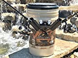 THE FISHING CADDY - Fishing Bucket Storage Organizer Kit – Includes Padded Seat, Fishing Rod Holder, Drink Holder and Waterproof LED Light for Night Fishing - Unique Fishing Gift, Camo