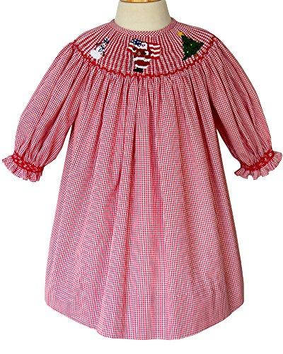Carouselwear Girls Christmas Smocked Santa Claus Red Bishop Dress With Long Sleeves