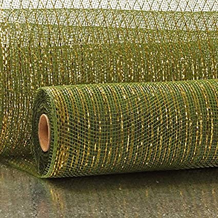 21 X 10 Yards Forest Green Deco Mesh W//Metallic Stripe