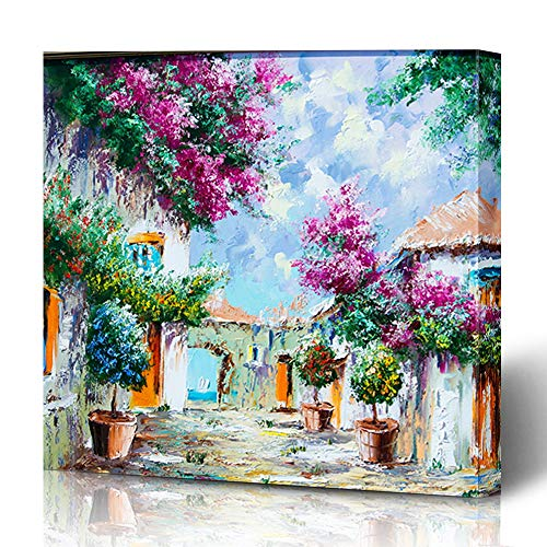 Ahawoso Canvas Prints Wall Art 16x16 Inches Europe Blue Nature Pattern Canvas Oils Abstract Village Brown Tourism Board Grow Decor for Living Room Office Bedroom