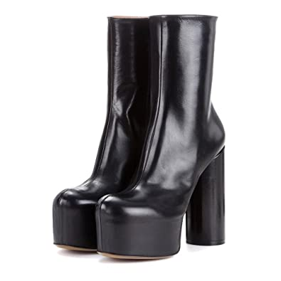 04f0ce98826 FSJ Women Gorgeous Platform Ankle Boots Closed Round Toe Chunky High Heel  Pull On Shoes Size