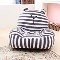 MAXYOYO Super Cute Grey Striped Bear Stuffed Plush Toy Bean Bag Chair, Cute Rabbit Plush Soft Sofa for Toddler/Infant/Baby, Birthday Gifts Christmas Gift for Boys Girls