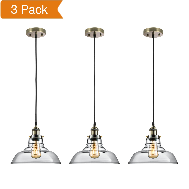 Salking Industrial Hanging Lamp, Vintage Edison Glass Pendant Light, Adjustable Hanging Height(Fabric Cord), Antique Brass Brushed Antique Socket, Modern Vintage Farmhouse Kitchen Lamp, 3-PACK