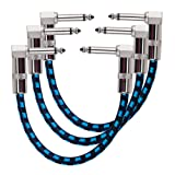 Rayzm Guitar Patch Cable - 6.35mm Noiseless 15cm Pedalboard Patch Cable Cord, Right Angle Male to Male TS Mono Instrument Patch Wire for Guitar/Bass Effect Pedals with Tweed Woven Jacket & Copper Plugs(Pack of 3,Blue)