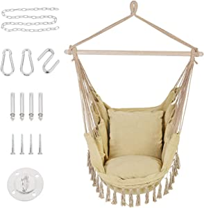 Patio Watcher Oversized Hammock Chair Hanging Rope Swing Seat with 2 Cushions and Hardware Kits, Perfect for Indoor, Outdoor, Home, Bedroom, Patio, Yard,Deck, Garden, Brown