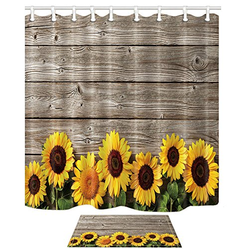 HNMQ Sunflower Shower Curtain, Flowers on Rustic Wood Plank Country Theme,69X70in Mildew Resistant Polyester Fabric Bathroom Curtain Set With 15.7x23.6in Flannel Non-Slip Floor Doormat Bath Rugs