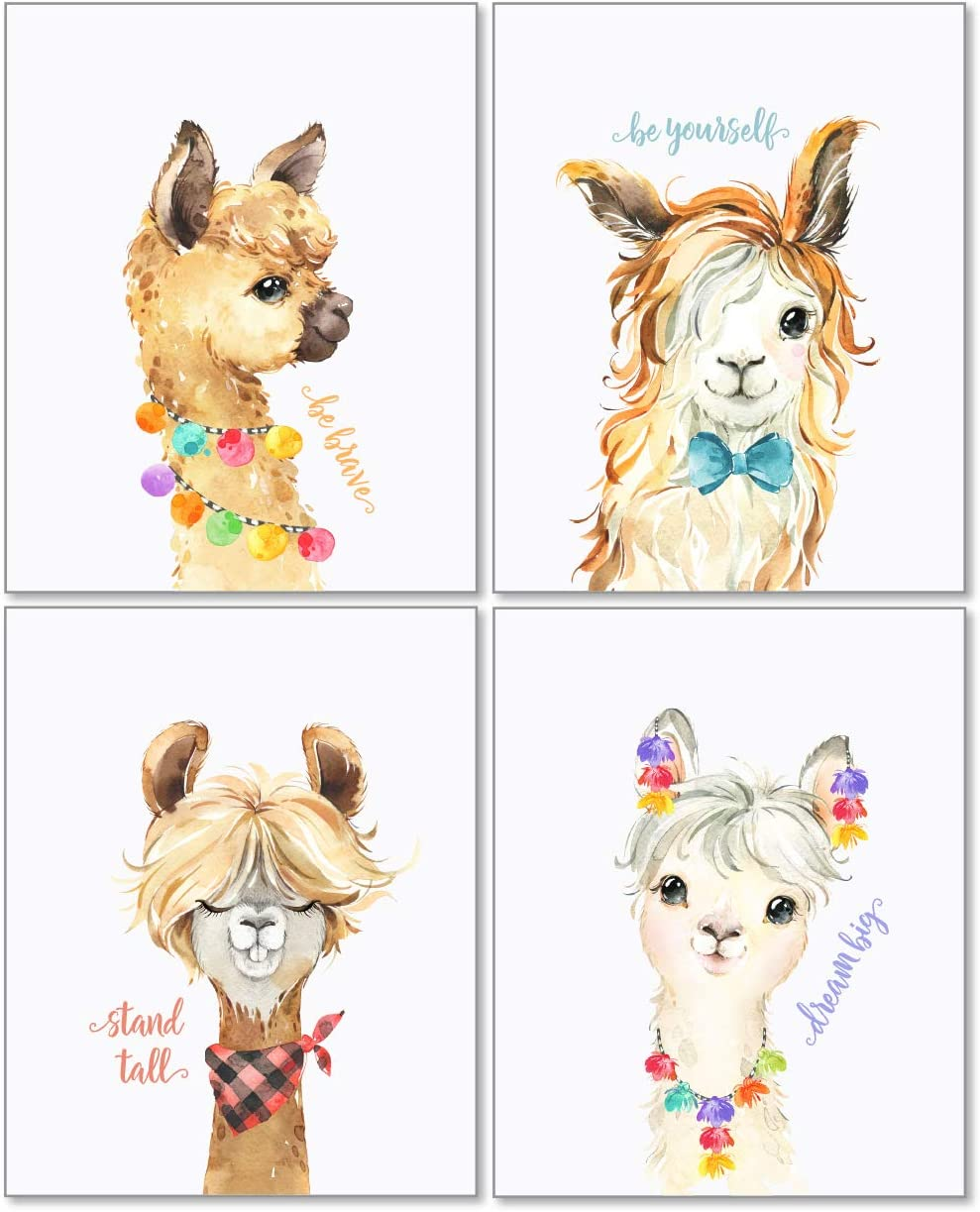 Confetti Fox Llama Nursery Decor Wall Art - 8x10 Unframed Set of 4 Prints - Alpaca Girl Boy Cute Baby Animals Pictures Quotes - Dream Big Stand Tall Be Brave Be Yourself