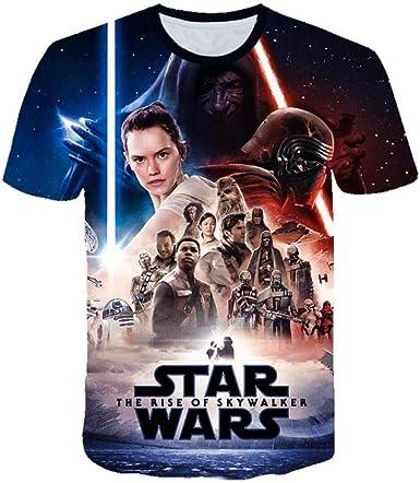 Camiseta Unisex de Verano Impresión Digital 3D Star Wars: The Rise of Skywalker Serie patrón Casual Hombres y Mujeres de Manga Corta