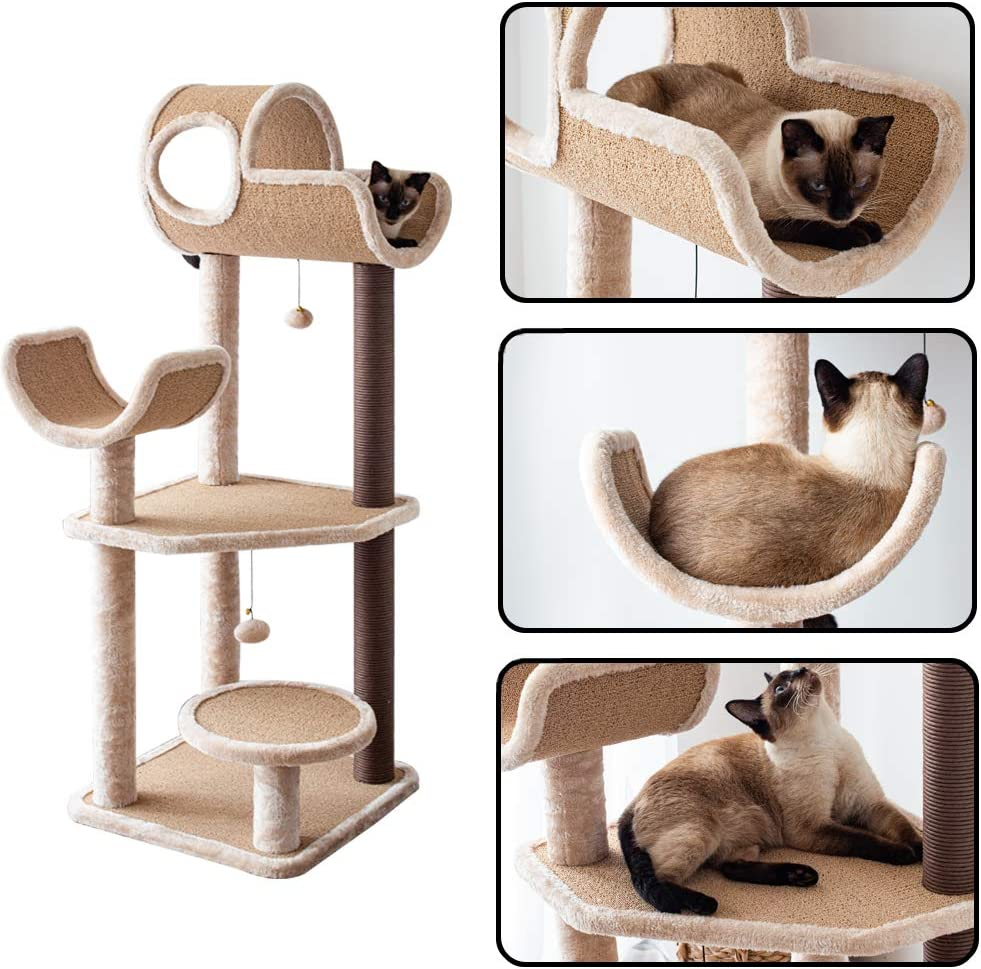 Carpet Cat Tree With Scratching Posts, Hammock, Lounge 19x19x50 inch