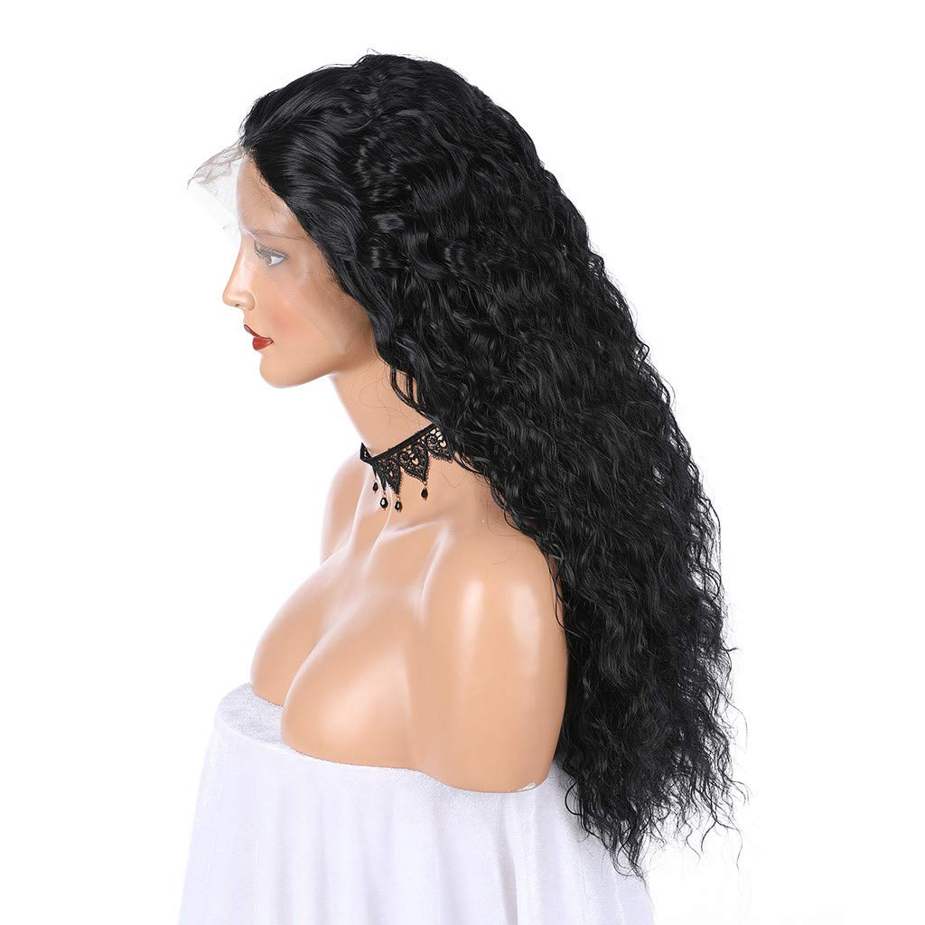 JYS Long Bob Lace Front Wig Synthetic Black Wig Glueless Wave Hair Heat Resistant Fibers Middle Parting 24 Inches for Ladies Cosplay Costume Halloween Party Hair Wig (Black) by JYS (Image #6)