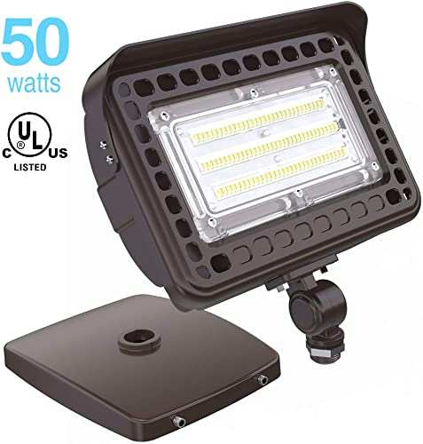 HYPERLITE 50W LED Flood Light Outdoor with Knuckle Mount, Wall Mount 5000K 6,000Lm IP65 Waterproof LED Security Lights for Yard Garden Garage UL Listed 5-Year Warranty
