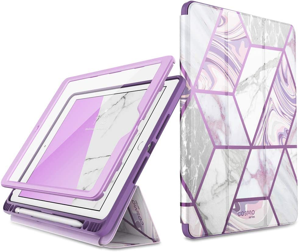 i-Blason Cosmo Case for New iPad 8th/7th Generation, iPad 10.2 2020 2019 Case, Full-Body Trifold with Built-in Screen Protector Protective Smart Cover with Auto Sleep/Wake & Pencil Holder (Ameth).