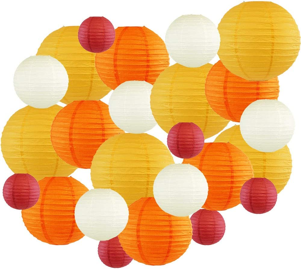Color: Candy Corn Just Artifacts Decorative Fall Round Chinese Paper Lanterns 24pcs Assorted Sizes /& Colors