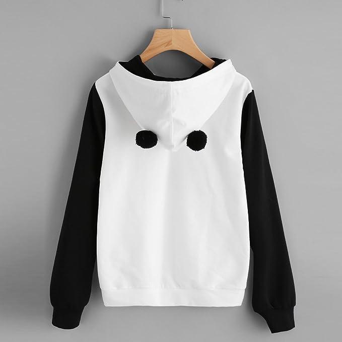 IMJONO Personalidad De Moda para Mujer Costura Color Panda Imprimir Sudadera con Capucha Sudadera con Capucha Jersey Jumper Tops Blusa: Amazon.es: Ropa y ...