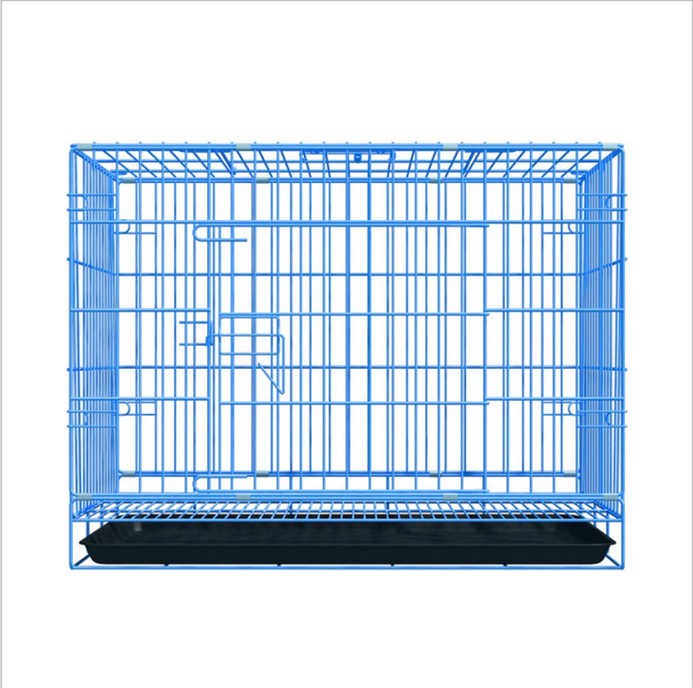 Pet Cage, Double Folding Metal Dog Bag Folkeble T , Easy to Clean Small and Medium Dogs Comfortable and Convenient, Blue, S