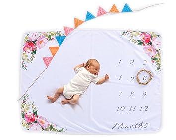 Amazon.com: amazingm mensual bebé Milestone manta apoyos de ...