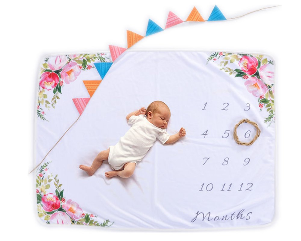 AmazingM Monthly Baby Girl Milestone Blanket,Personalized Photo Background Props(Floral), 1-12 Months Baby Shower Gifts for Boy or Girl(with a Bonus Floral Wreath),30''X40'' by AmazingM