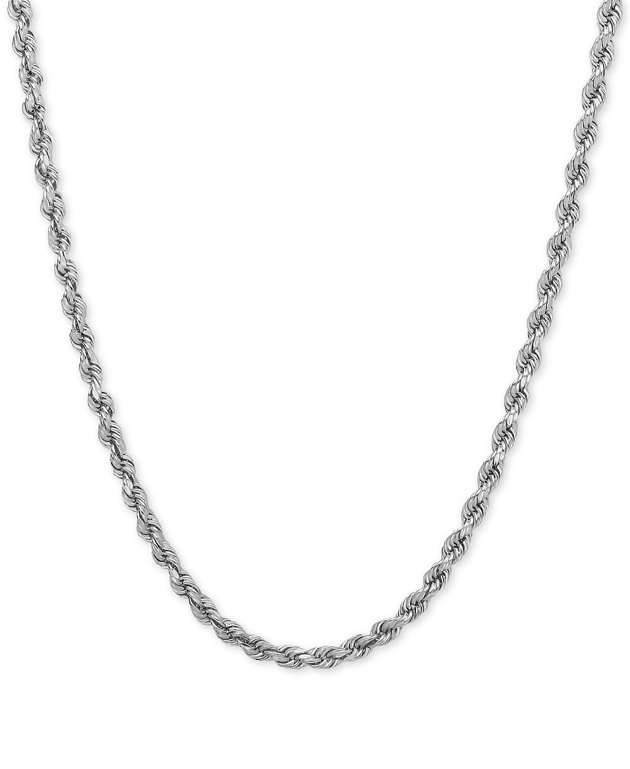 14K Yellow or White Gold 2.00mm Shiny Hollow Rope Chain Necklace for Pendants and Charms with Lobster-Claw Clasp (16'', 18'' or 20 inch)
